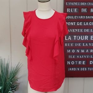 LOFT | S red ruffle top ruffles rub front to back